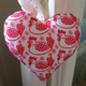 Scandi Red Hens Heart Decoration